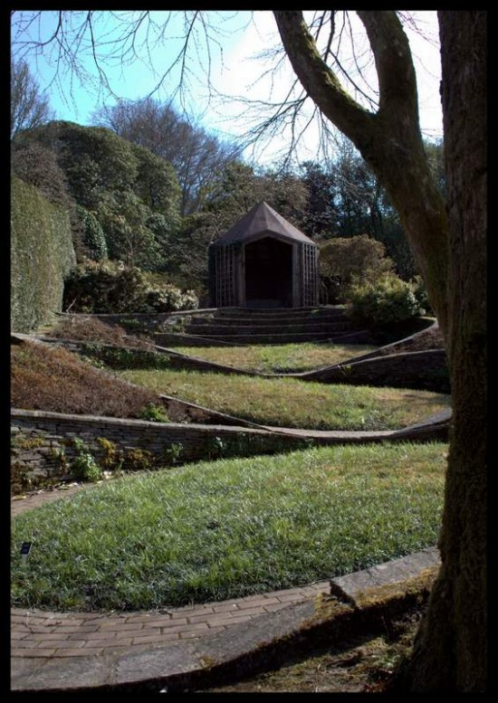 Sloping site and summerhouse, The Garden House, Devon