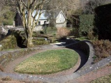Retaining walls, sloping garden, The Garden House