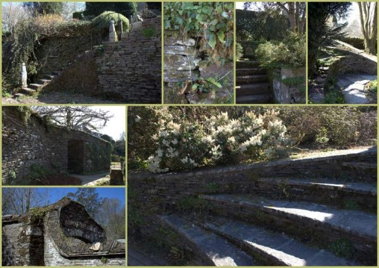 Stone steps and walls, The Garden House, Devon